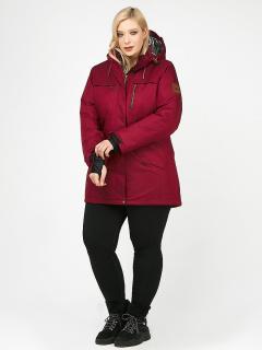 Купить оптом женскую зимнюю парку большого размера бордового цвета в интернет магазине MTFORCE 1964Bo