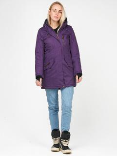 Купить оптом женскую зимнюю парку фиолетового цвета в интернет магазине MTFORCE 1963F