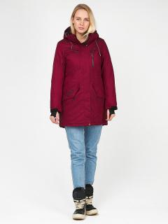 Купить оптом женскую зимнюю парку бордового цвета в интернет магазине MTFORCE 1963Bo
