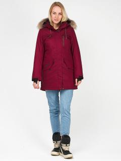 Купить оптом женскую зимнюю парку бордового цвета в интернет магазине MTFORCE 1963-1Bo