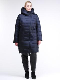 Купить оптом женскую зимнюю классику куртку с капюшоном темно-синего цвета в интернет магазине MTFORCE 1968_02TS