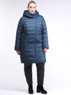 Купить оптом женскую зимнюю классику куртку с капюшоном темно-зеленного цвета в интернет магазине MTFORCE 1968_03TZ