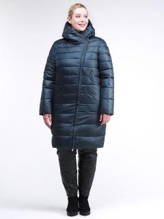 Купить оптом женскую зимнюю классику куртку с капюшоном болотного цвета в интернет магазине MTFORCE 1968_20Bt