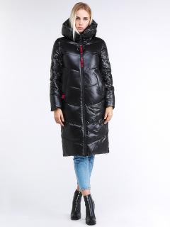 Купить оптом женскую зимнюю молодежную куртку с капюшоном черного цвета в интернет магазине MTFORCE 1969_01Ch