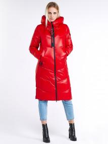 Купить оптом женскую зимнюю молодежную куртку с капюшоном красного цвета в интернет магазине MTFORCE 1969_14Kr
