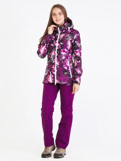 Спортивный костюм женский осенний весенний softshell фиолетового цвета купить оптом в интернет магазине MTFORCE 01977F