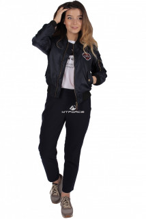 Куртка-бомбер женская свободного кроя из нейлона темно-синего цвета 1983TS в интернет магазине MTFORCE.RU