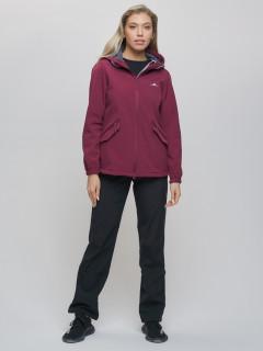 Спортивный костюм женский демисезонная softshell бордового цвета купить оптом в интернет магазине MTFORCE 020014Bo