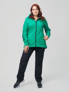 Женский осенний весенний костюм спортивный из ткани softshell большого размера зеленого цвета купить оптом в интернет магазине MTFORCE 02003Z