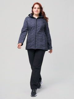 Женский осенний весенний костюм спортивный из ткани softshell большого размера серого цвета купить оптом в интернет магазине MTFORCE 02003-1Sr