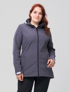 Купить оптом женскую осеннюю весеннюю ветровку из ткани softshell большого размера серого цвета в интернет магазине MTFORCE 2003Sr