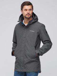 Купить оптом мужскую осеннюю весеннюю парку softshell темно-серого цвета в интернет магазине MTFORCE 2010TC