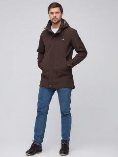 Купить оптом мужскую осеннюю весеннюю парку softshell коричневого цвета в интернет магазине MTFORCE 2010K