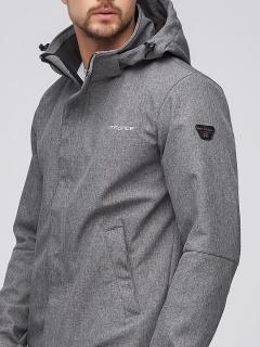 Купить оптом мужскую осеннюю весеннюю парку softshell серого цвета в интернет магазине MTFORCE 2010Sr