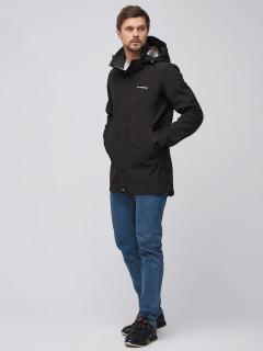Купить оптом мужскую осеннюю весеннюю парку softshell черного цвета в интернет магазине MTFORCE 2010Ch