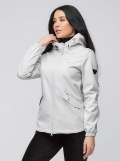 Купить оптом женскую осеннюю весеннюю ветровку softshell светло-серого цвета в интернет магазине MTFORCE 2014SS