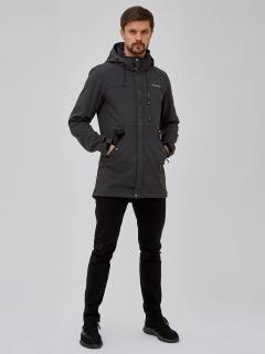 Купить оптом мужскую осеннюю весеннюю парку softshell темно-серого цвета в интернет магазине MTFORCE 2018TC