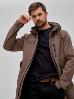 Купить оптом мужскую осеннюю весеннюю парку softshell коричневого цвета в интернет магазине MTFORCE 2018K