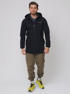 Купить оптом мужскую осеннюю весеннюю парку softshell черного цвета в интернет магазине MTFORCE 2020Ch