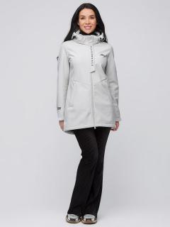 Купить оптом женскую осеннюю весеннюю парку softshell светло-серого цвета в интернет магазине MTFORCE 2021SS