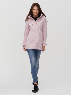 Купить оптом женскую осеннюю весеннюю ветровку softshell розового цвета в интернет магазине MTFORCE 2022R