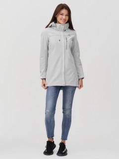 Купить оптом женскую осеннюю весеннюю ветровку softshell светло-серого цвета в интернет магазине MTFORCE 2022SS