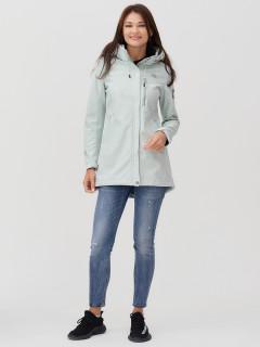 Купить оптом женскую осеннюю весеннюю ветровку softshell бирюзового цвета в интернет магазине MTFORCE 2022Br