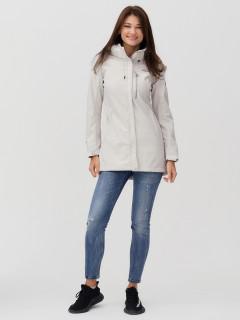 Купить оптом женскую осеннюю весеннюю ветровку softshell бежевого цвета в интернет магазине MTFORCE 2022B