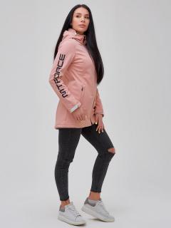 Купить оптом женскую осеннюю весеннюю парку softshell персикового цвета в интернет магазине MTFORCE 2023P