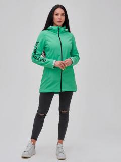 Купить оптом женскую осеннюю весеннюю парку softshell зеленого цвета в интернет магазине MTFORCE 2023Z