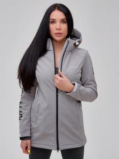 Купить оптом женскую осеннюю весеннюю парку softshell серого цвета в интернет магазине MTFORCE 2023Sr