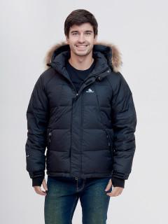 Купить оптом мужскую зимний пуховик черного цвета в интернет магазине MTFORCE 2025Ch