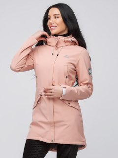 Купить оптом женскую осеннюю весеннюю парку softshell персикового цвета в интернет магазине MTFORCE 2026P