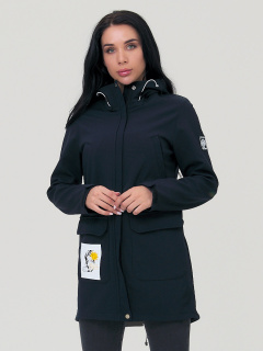 Купить оптом женскую осеннюю весеннюю парку softshell черного цвета в интернет магазине MTFORCE 2027Ch