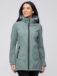 Купить оптом женскую осеннюю весеннюю парку softshell зеленого цвета в интернет магазине MTFORCE 2028Z