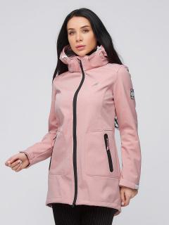 Купить оптом женскую осеннюю весеннюю парку softshell персикового цвета в интернет магазине MTFORCE 2028P