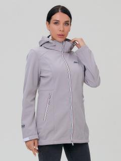 Купить оптом женскую осеннюю весеннюю парку softshell серого цвета в интернет магазине MTFORCE 2029Sr