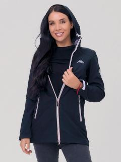 Купить оптом женскую осеннюю весеннюю парку softshell черного цвета в интернет магазине MTFORCE 2029Ch