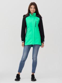 Купить оптом женскую осеннюю весеннюю ветровку softshell зеленого цвета в интернет магазине MTFORCE 2030Z