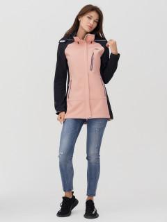 Купить оптом женскую осеннюю весеннюю ветровку softshell розового цвета в интернет магазине MTFORCE 2030R