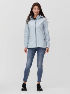 Купить оптом женскую осеннюю весеннюю ветровку softshell голубого цвета в интернет магазине MTFORCE 2031Gl