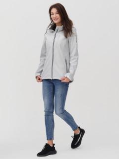 Купить оптом женскую осеннюю весеннюю ветровку softshell светло-серого цвета в интернет магазине MTFORCE 2031SS