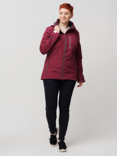 Купить оптом женскую осеннюю весеннюю ветровку из ткани softshell большого размера бордового цвета в интернет магазине MTFORCE 2031-1Bo