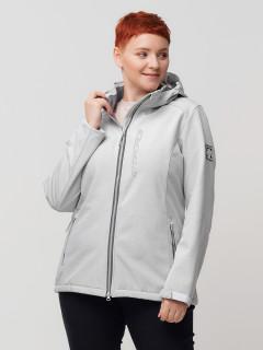 Купить оптом женскую осеннюю весеннюю ветровку из ткани softshell большого размера светло-серого цвета в интернет магазине MTFORCE 2031-1SS