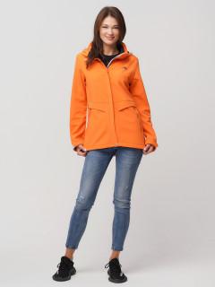 Купить оптом женскую осеннюю весеннюю ветровку softshell оранжевого цвета в интернет магазине MTFORCE 2032O