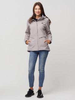 Купить оптом женскую осеннюю весеннюю ветровку softshell серого цвета в интернет магазине MTFORCE 2032Sr