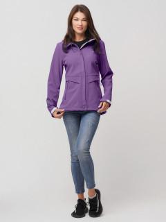 Купить оптом женскую осеннюю весеннюю ветровку softshell фиолетового цвета в интернет магазине MTFORCE 2032F