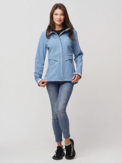 Купить оптом женскую осеннюю весеннюю ветровку softshell голубого цвета в интернет магазине MTFORCE 2032Gl