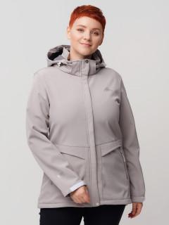 Купить оптом женскую осеннюю весеннюю ветровку из ткани softshell большого размера серого цвета в интернет магазине MTFORCE 2032-1Sr