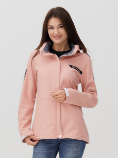 Купить оптом женскую осеннюю весеннюю ветровку softshell розового цвета в интернет магазине MTFORCE 2034R